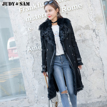 Real fur women jacket long style Tuscany Fur turn down collar double face fur Windbreaker for winter warm thick fur coat