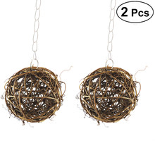 2Pcs Willow Branch Ball Durable Small Nontoxic Portative Rattan Ball for Parrot Chewing Small Animals(China)