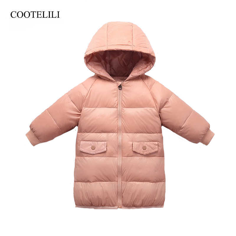 COOTELILI 80% Down Parka Winter Jacket For Girls Fashion Children Boys Winter Clothing Long Style Warm Winter Outerwear
