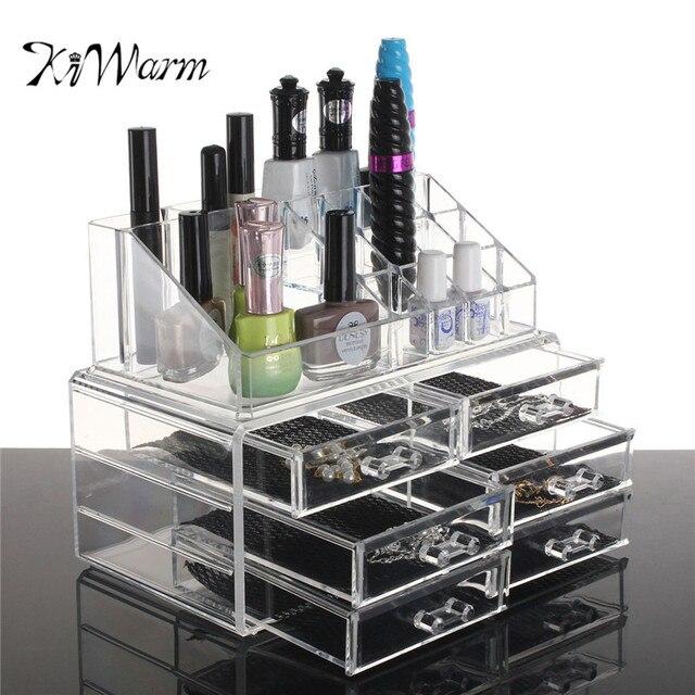 KiWarm Acrylic Transparent Makeup Holder Organizer 4 Drawer Storage