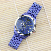 High Quality Famous Brand Geneva Women Watch Luxury Gold Plated Matte Color Metal Female Dress