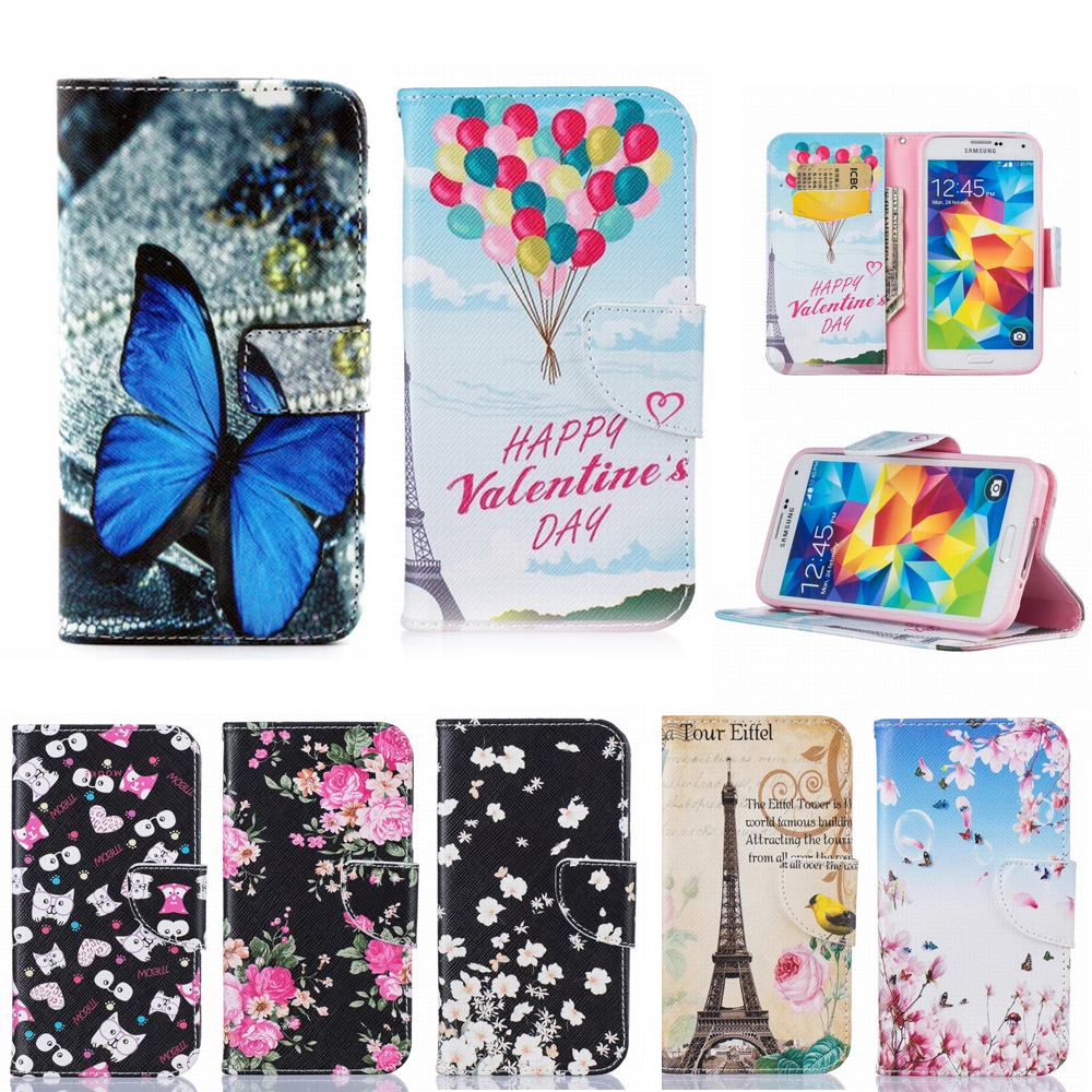 For Samsung Galaxy S5 Case Wallet Leather Flip Butterfly Cartoon Card Slot Phone Case For Samsung Galaxy S5 Neo Case Cover Stand