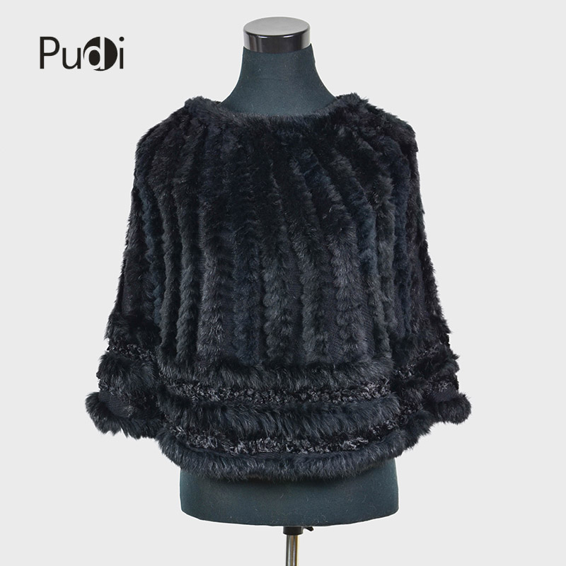 Pudi C K 710 Real Knitted hooded rabbit fur shawl poncho stole cape scarf wrap black winter jackets vests coats