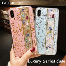 ROSINOP Patchwork Soft TPU Cover For iphone xs max Case xr Luxury Blinking Rhinestone 6 7 8 plus Full Protection