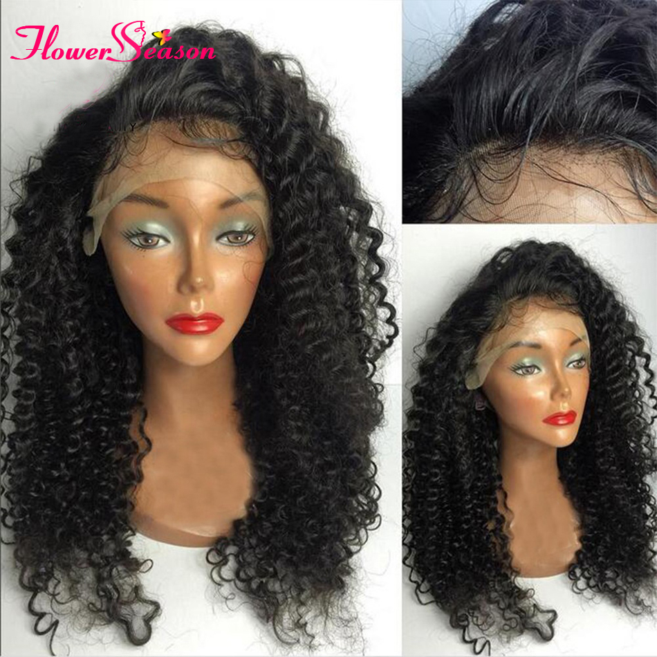 8A 150 Density Afro Kinky Curly Wig Brazilian Full Lace Human Hair Kinky Afro Wigs For Black Women Kinky Curly Lace Front Wigs
