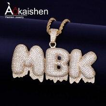 c163c00d3094 Nombre personalizado goteo blanco burbuja cartas colgantes collares hombres  Zircon de joyería Hip Hop envío 4mm
