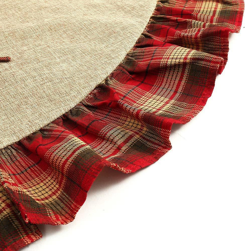 Linen Christmas Tree Skirt: 122CM Christmas Tree Skirt Red Black Plaid Ruffle Edge