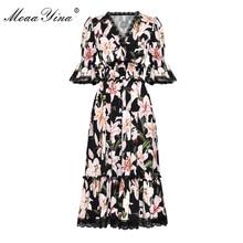 MoaaYina Fashion Designer Runway dress Spring Summer Women Dress V-neck lily Floral-Print Elegant Dresses
