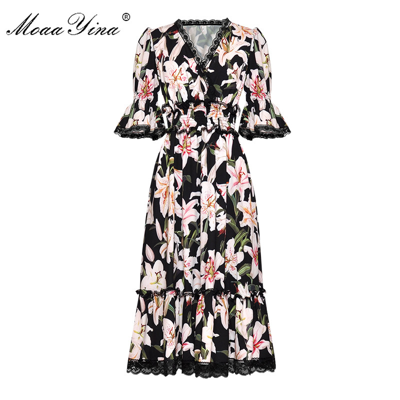 MoaaYina ファッションデザイナー滑走路ドレス春夏の女性のドレス V ネックユリ花柄エレガントなドレス  グループ上の レディース衣服 からの ドレス の中 1