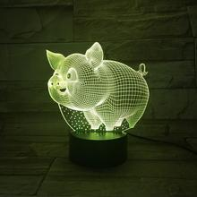 Cute Pig Led Night Light Lampara 3D Illusion 7 Color Changing Decorative Lamp Child Kids Room Decor Table Wild boar