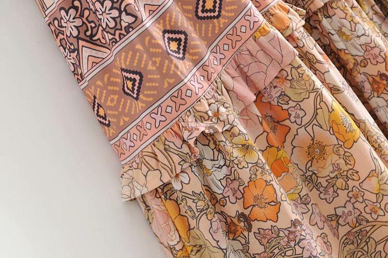 V-Neck Sasches Ruffles Floral Print Boho Dress 14