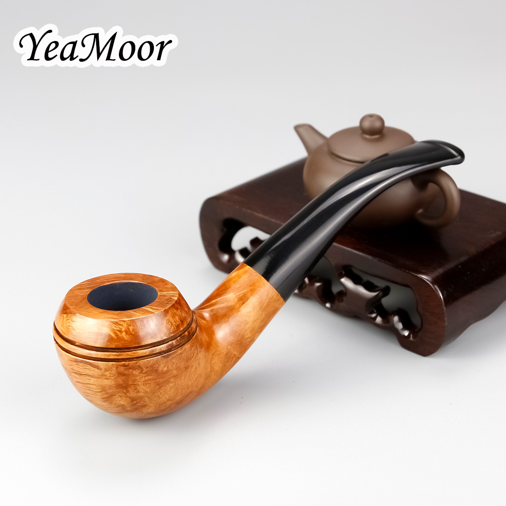 Vintage Smoking Tobacco Pipe Round Bowl Briar Wood Pipe 74 tools free Handmade Smoking Pipe 9mm