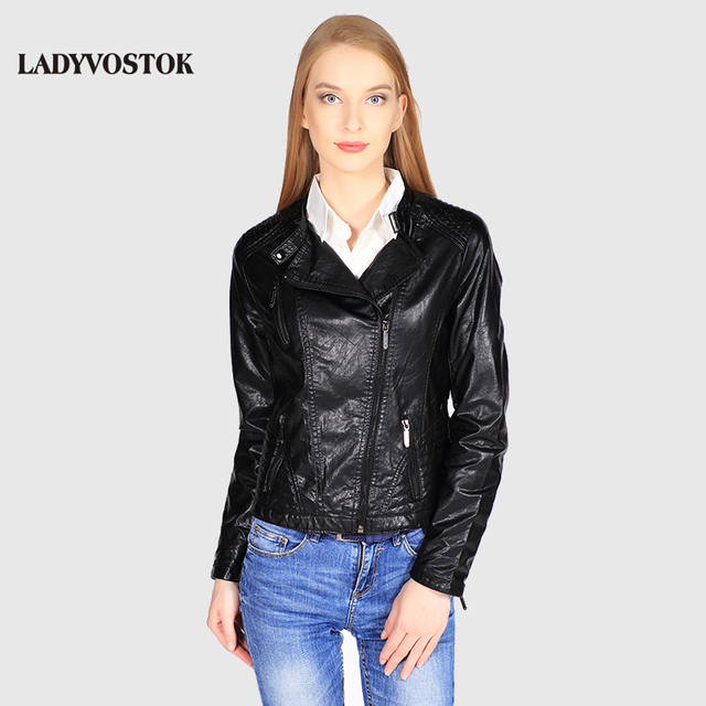 Ladyvostok осень новые модные черные женские куртка кожаная короткая куртка из искусственной кожи байкерская куртка пальто молния леди кожаная куртка J7802