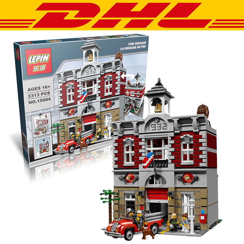 2016 New LEPIN 15004 2313Pcs <font><b>City</b></font> Creator <font><b>Fire</b></font> Brigade Model Building Kits Minifigures Blocks Bricks Compatible Toys Gift 10197