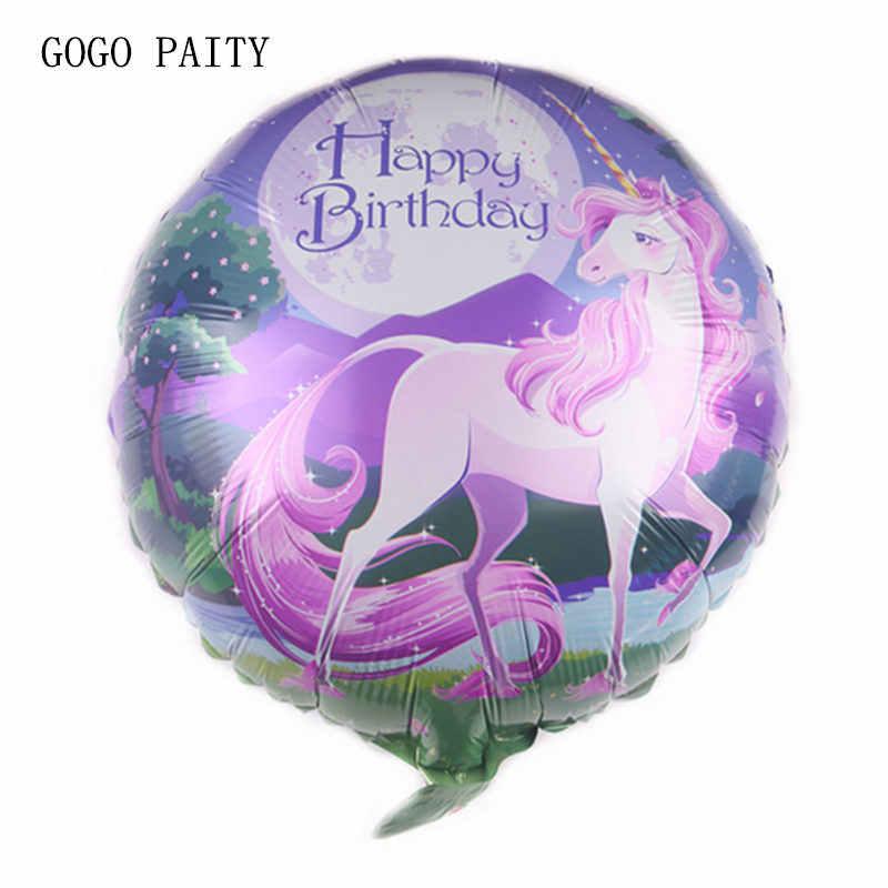 GOGO PAITY Novo unicórnio 18-polegada rodada feliz aniversário balão de alumínio decoração do partido decoração de aniversário brinquedos atacado
