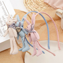 New cute animal style hair band striped rabbit plush ears girl bow head buckle accessories headband headwear