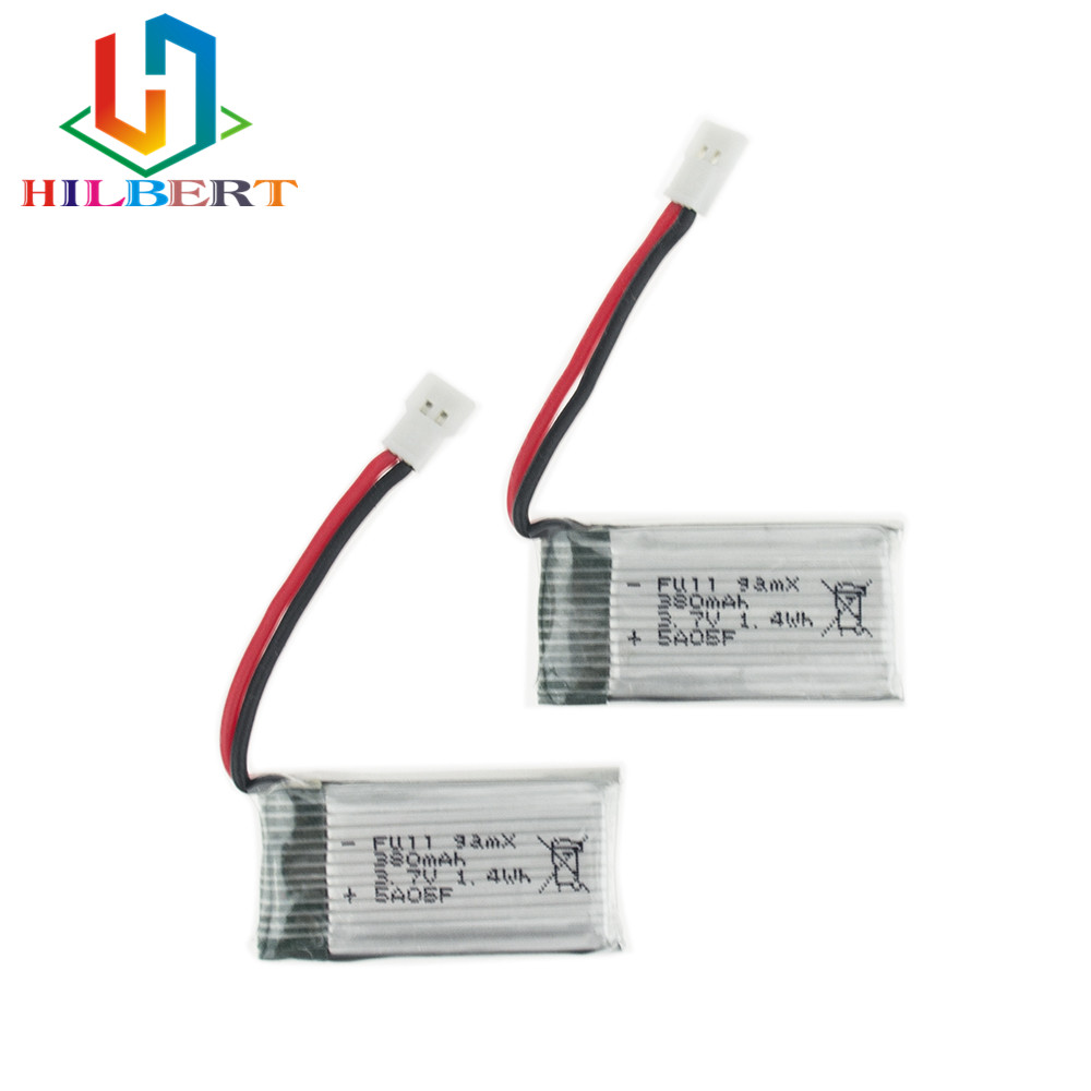 2 pcs/lot <font><b>3.7V</b></font> <font><b>380mAh</b></font> LiPo Battery For JRC H6C Hubsan H107 DM003 RC Helicopters Drone Control Toys image