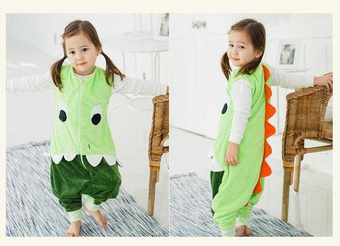 7 видов стилей; детский спальный мешок без рукавов; фланелевые пижамы для маленьких девочек с милым рисунком; спальные мешки для маленьких мальчиков - Цвет: green dino