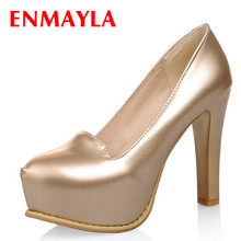 ENMAYER  New 2015 Spring autumn Womens pumps Women shoes high heels PU Party Platforms PUMPS Gold Silver Black White