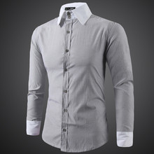 Brand New Men s Casual Shirt Social Solid Color Striped Shirt Full Sleeve Turn Down Collar