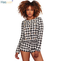 HAOYUAN Autumn Winter Plaid Tweed Two Piece Set Women Outwear Top And Shorts Suits Elegant Office