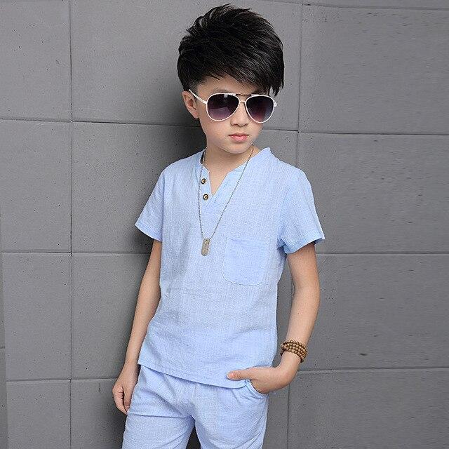 save off f1dba 28aa0 US $16.99 |Ragazzi adolescenti Abiti di Cotone Lino Set di Abbigliamento  Per Ragazzi T Shirt & Shorts estate Abbigliamento Per Bambini 4 6 8 10 12  13 ...