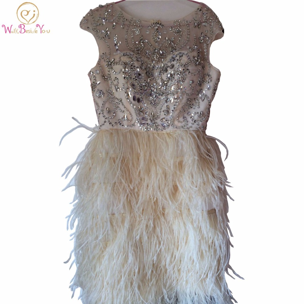 100% Real Image Prom Dresses Champagne Ostrich Feather Elegant Crystal Beading Bodice Short Sexy Straight Party Evening Gown