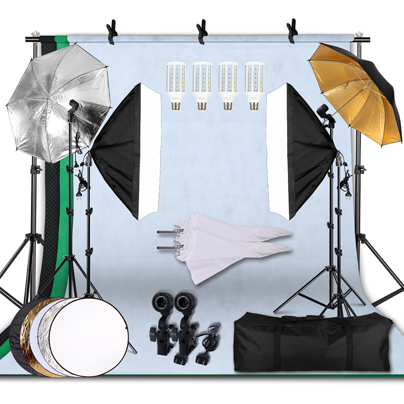 135W 5500K Umbrellas Softbox Continuous Lighting Kit with Backdrop Support System for Photo Studio Product Shoot