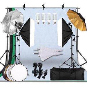 Image 1 - 20W 5500Kร่มSoftboxชุดโคมไฟต่อเนื่องพร้อมระบบสนับสนุนฉากหลังสำหรับPhoto Studioผลิตภัณฑ์ถ่ายภาพ