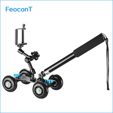 Camera Dolly Kit Mobile Rolling Sliding Dolly Stabilizer Skater Slider, Hand Held Monopod,7 inches Adjustable Friction Magic Arm