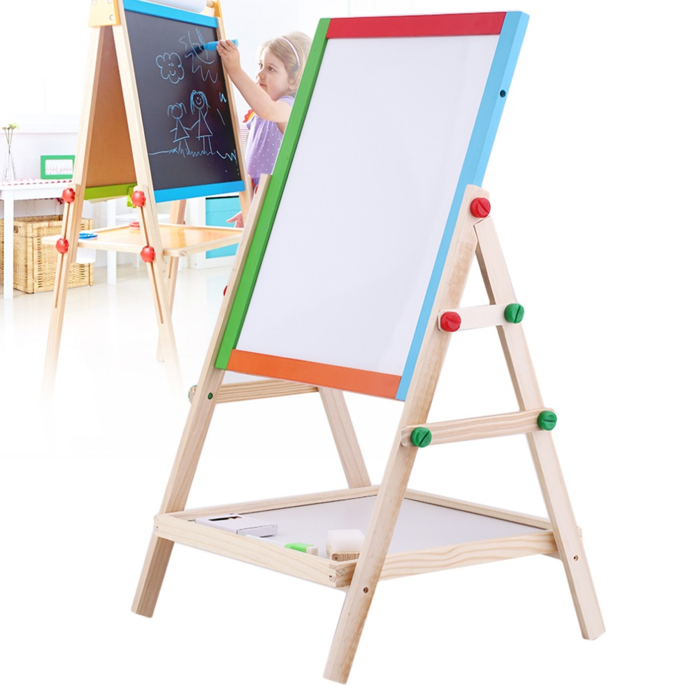 Creative Magnetic Blackboard Chalkboard Children Kid 2 In 1 Double Side Wooden Easel Chalk Board Drawing Board multifunctional wooden chalkboard animal magnetic puzzle whiteboard blackboard drawing easel board arts toys for children kids