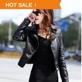 2015 Women Coat New   Women's Leather Jackets European Style Ladies Oblique Zipper Motorcycle Leather Women Models Fall Short