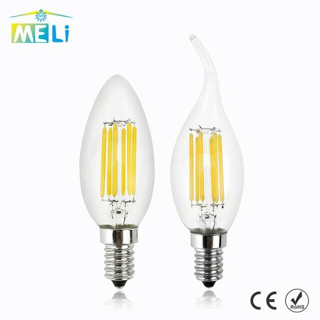 Regulable C35/C35L E14 220V LED filamento vela bombilla 4W 8W 12W Retro antiguo Edison LED E14 vela luces para araña