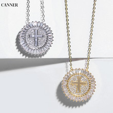цена на Canner Cubic Zirconia Silver Gold Cross Necklace Women Crystal Pendant Necklace Chain Statement Jewelry Collier Femme