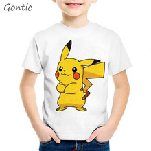 Japanese cartoon Pokemon print kids T shirt Summer Tops Cute Children game funny Girls Boys animal tee shirt enfant Short Sleeve цена 2017