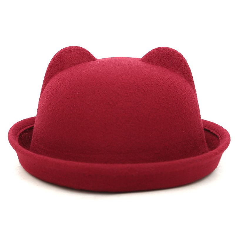 Brand New Fedora Hat Bowler For Women's Gorro Bowler Top Hat Family Matching Wool Winter and Autumn Floppy Hat With Ears