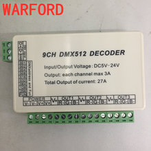 WARFORD 9CH dmx512 decoder,LED Controller,9 channel dmx 512 dimmer,drive,3 group RGB output each channel Max 3A for LED strip(China)