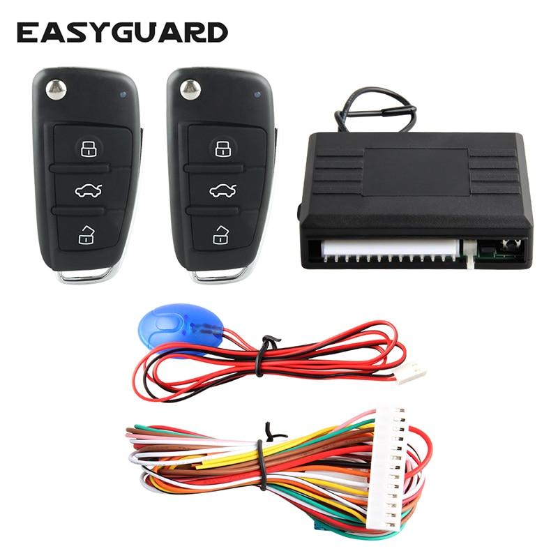 EASYGUARD Universal keyless entry system remote lock unlock central door locking customized flip key blade 12V
