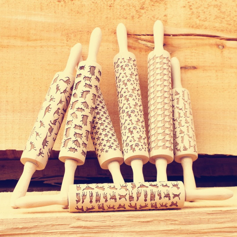 Newest Wooden Rolling Pin for Mastic Embossing with Pattern Fondant Cake Dough Patterned Roller Fondant Cake Baking Tools