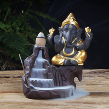 back flow Incense burner purple Clay Ganesha Elephant god  buddha statue nizar Buddhism backflow burn zen tea pet home decor