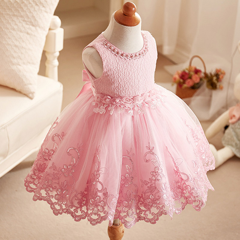 купить Baby girl short party dress Lace 2017 new summer Infant Pageant elegant evening Girl's Dress Children's Clothes 2 4 6 8 10 years дешево