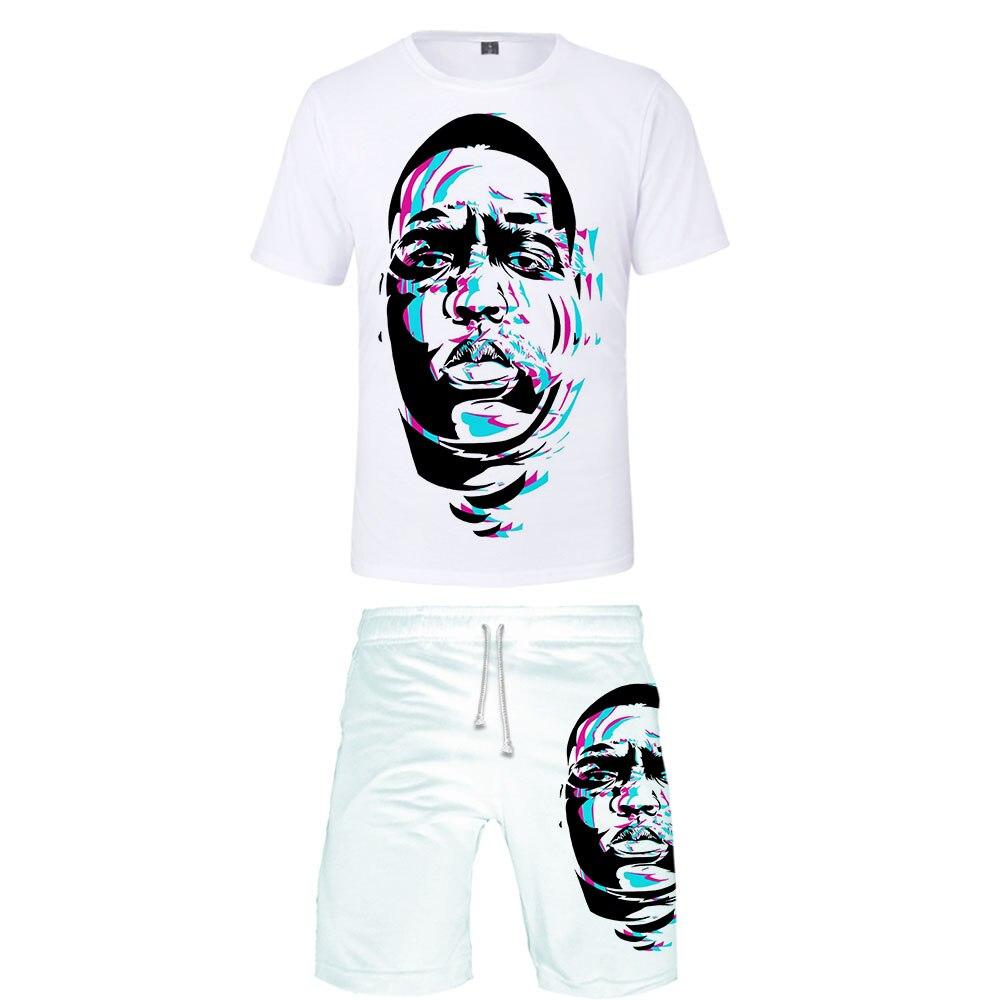 2019 BIGGIE Two Piece Set Tshirt And Shorts Harajuku Men B.I.G T Shirt Streetwear Harajuku Short Sleeve Plus Size Streetwear