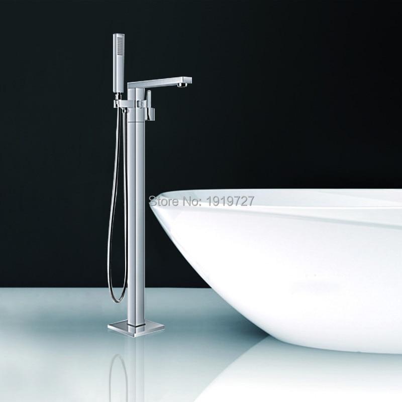 Floor Standing Faucet Bathroom Square Floor Deck Mounted Bathtub ...
