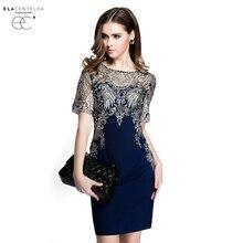 Elacentelha brand dress лето высокого качества женщин вышивка лоскутное выдалбливают dress повседневная коротким рукавом тонкий женщин платья