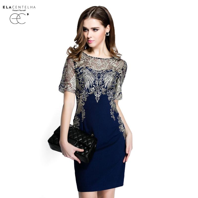 Elacentelha marke dress sommer frauen hochwertigen stickerei patchwork aushöhlen dress casual kurzarm dünnen frauen kleider