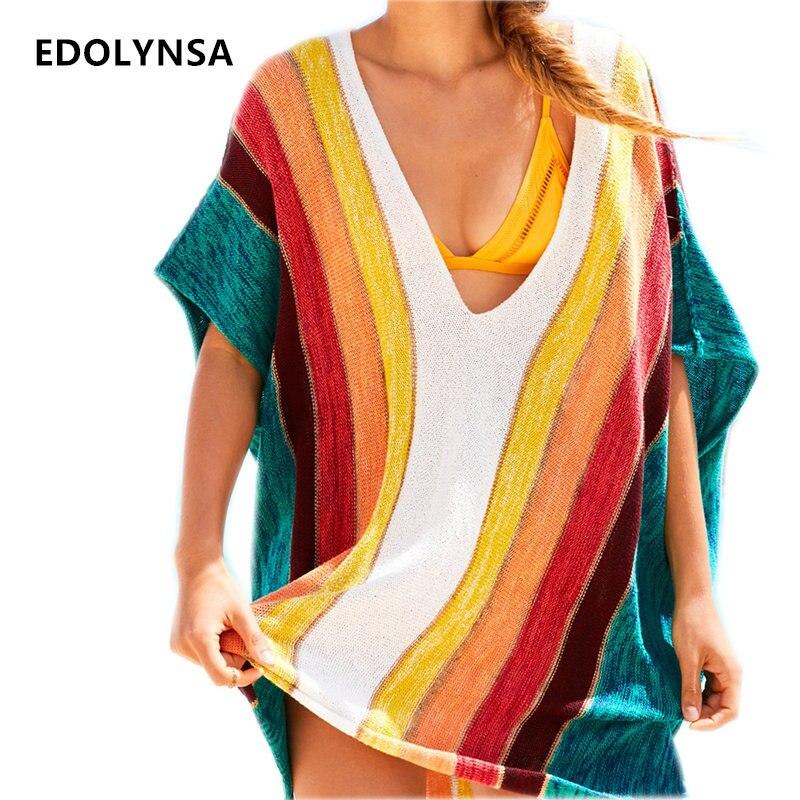 Neuheiten Sexy Strand Cover up Gestreift Häkeln Robe de Plage Pareos für Frauen Bademode Saida de Praia Bademode Coverups # Q228