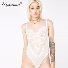 Missomo Women One Piece Costumes Mesh Sexy Top Lace Off Shoulder Transparent Bodysuit Plus Size Body