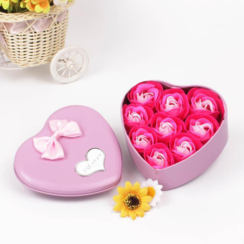 9Pcs Rose Flower Soap Heart Scented Bath Body Petal Rose Flower Soap Wedding Decoration Gift Best For Lovers #20