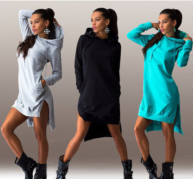 636a559a545 2016 automne hiver femmes robe Sexy fente Sport Hoodies manches longues  poches Slim Casual Mini robes
