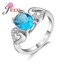 Simple Gorgeous Promise Rings Real 925 Sterling Silver Rings For Women 5 Color Opentional With Two Heart Lord Ring(China)